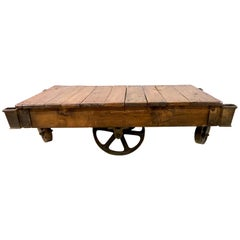 19th Century Industrial Wheeled Trolley Coffee Table