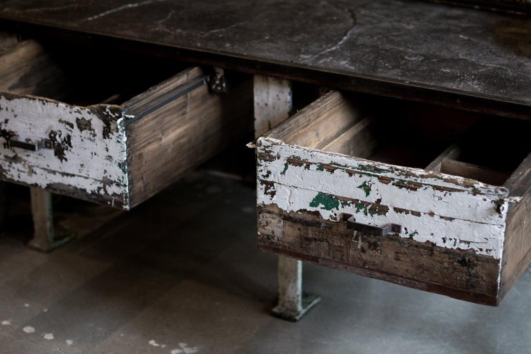 19th Century Industrial Work Table with Steel Base For Sale 5