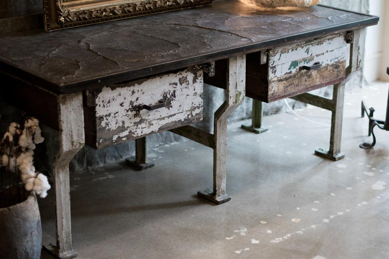 Belgian 19th Century Industrial Work Table with Steel Base For Sale