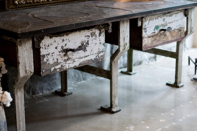 Painted 19th Century Industrial Work Table with Steel Base For Sale