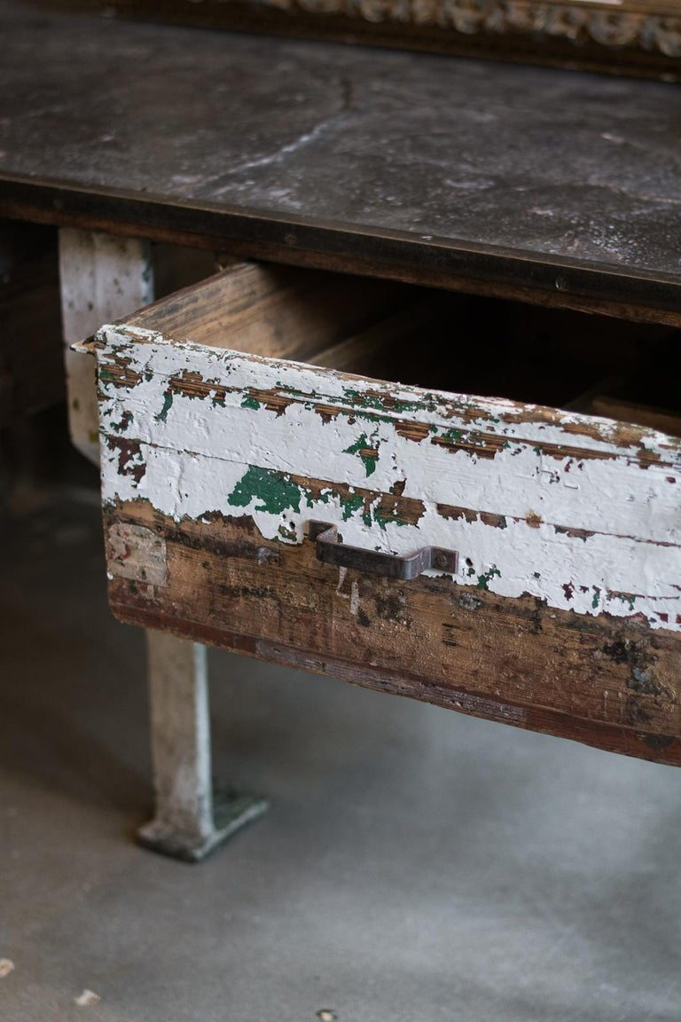 19th Century Industrial Work Table with Steel Base For Sale 2