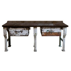 19th Century Industrial Work Table with Steel Base
