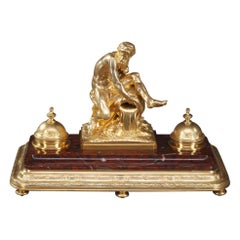 19th Century Inkwell a River after Jean-Jacques Caffieri
