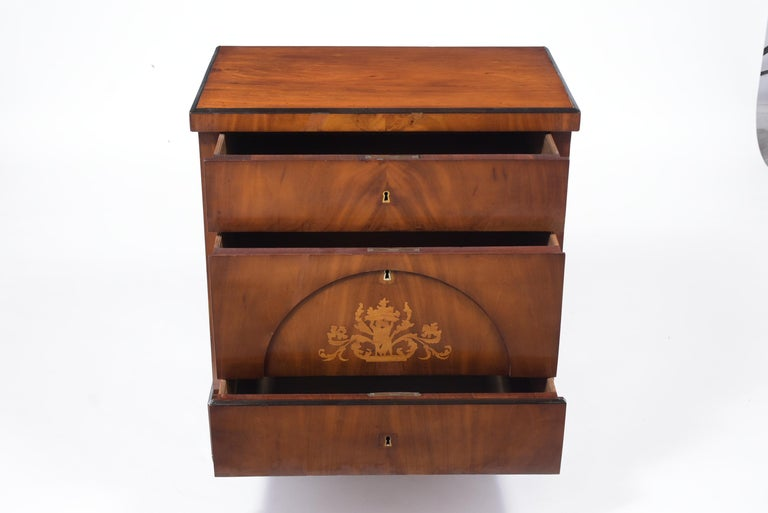 Dutch 19th Century Inlaid Walnut Chest of Drawers For Sale