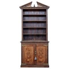 19th Century Inlaid Oak Architectural Cabinet Bookcase