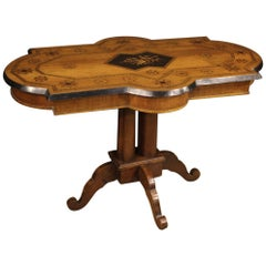 19th Century Inlaid Wood Antique Italian Table, 1880