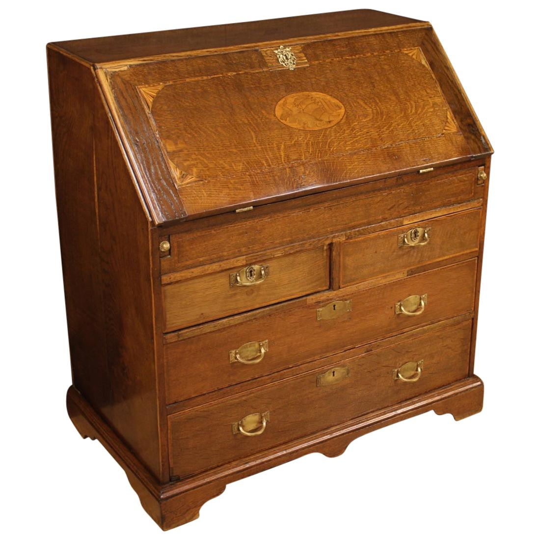 19th Century Inlaid Wood English Bureau Desk, 1870