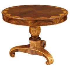 19th Century Inlaid Wood Italian Charles X Living Room Table, 1830