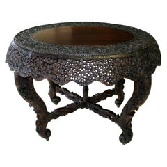 19th Century Intricately Carved Anglo-Indian Center Table