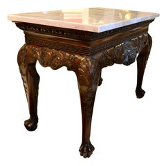 19th Century Irish Chippendale Style Marble-Topped Mahogany Centre Hall Table