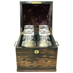 19th Century Irish Coromandel Wood Campaign Decanter Box with Crystal Decanters