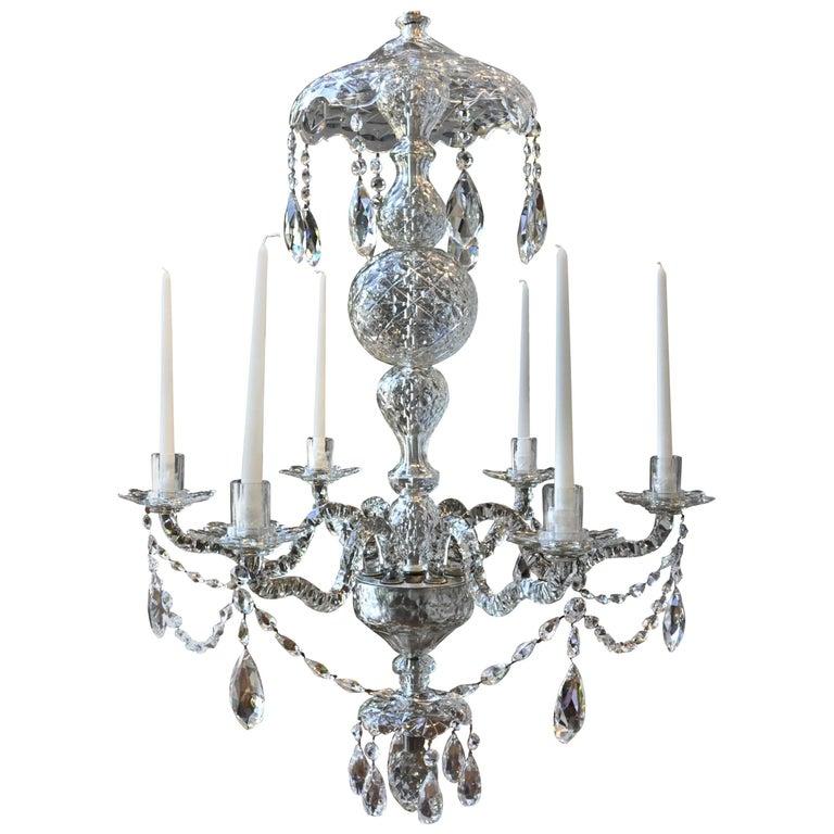 Georgian Chandelier: 19th Century Irish Georgian Crystal Chandelier For Sale At