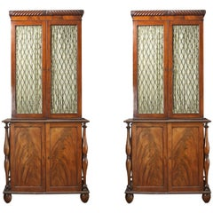19th Century Irish Pair of Cork Flame Mahogany Bookcases