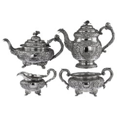 Irish Solid Silver 4-Piece Tea and Coffee Set, Charles Marsh, circa 1830