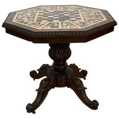 19th Century Irish Specimen Marble-Top Rosewood Center Table or Chess Table