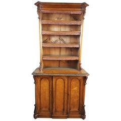 19th Century Irish Walnut Bookcase Cabinet