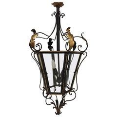 19th Century Iron and Brass Painted Hanging Lantern