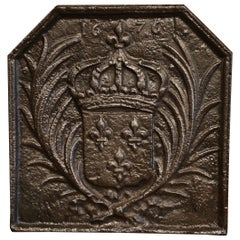 19th Century Iron Fireback with French Royal Coat of Arms and Fleurs-de-Lys