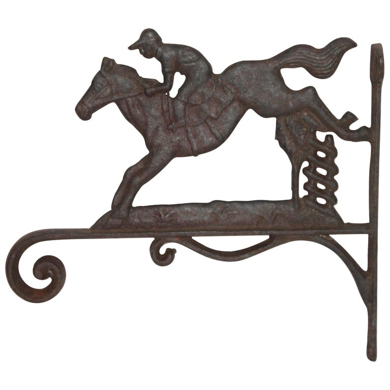 19th Century Iron Horse and Rider Wall Mount For Sale