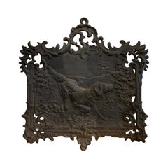 19th Century Iron Plaque with Hunting Dog