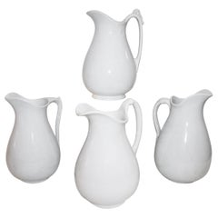 19th Century Iron Stone Water Pitchers, Collection of Four