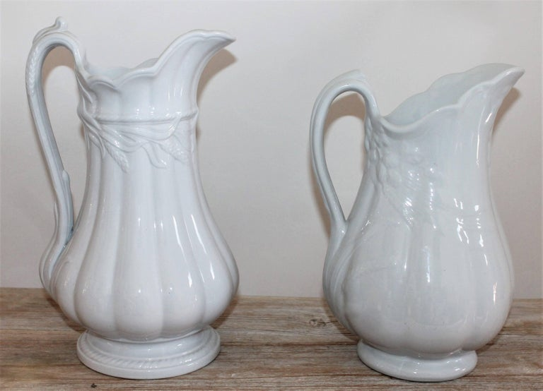 American 19th Century Ironstone Wheat Water Pitchers For Sale