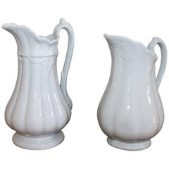 19th Century Ironstone Wheat Water Pitchers