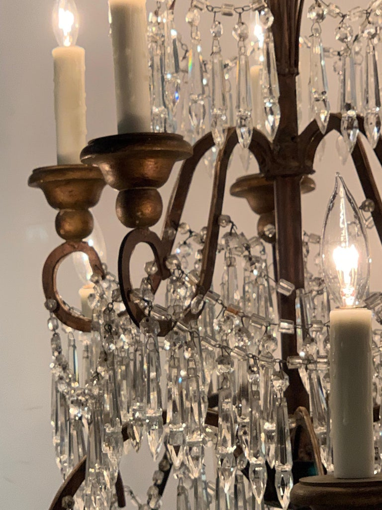 19th Century Italian 10 Light Crystal Chandelier In Good Condition For Sale In Dallas, TX