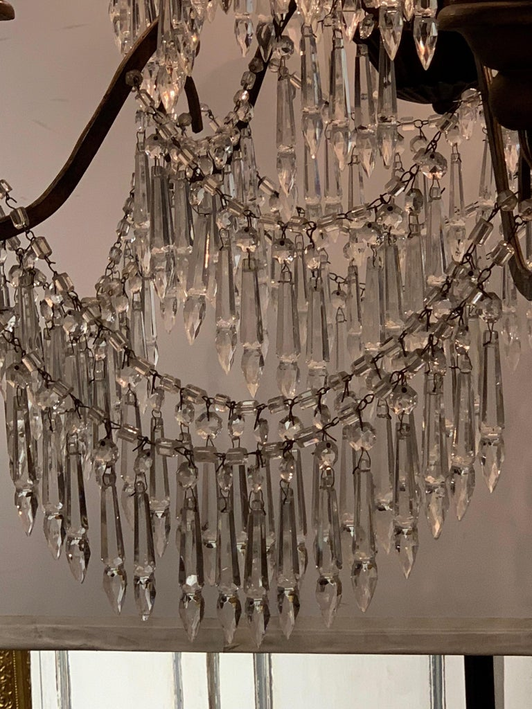19th Century Italian 10 Light Crystal Chandelier For Sale 1