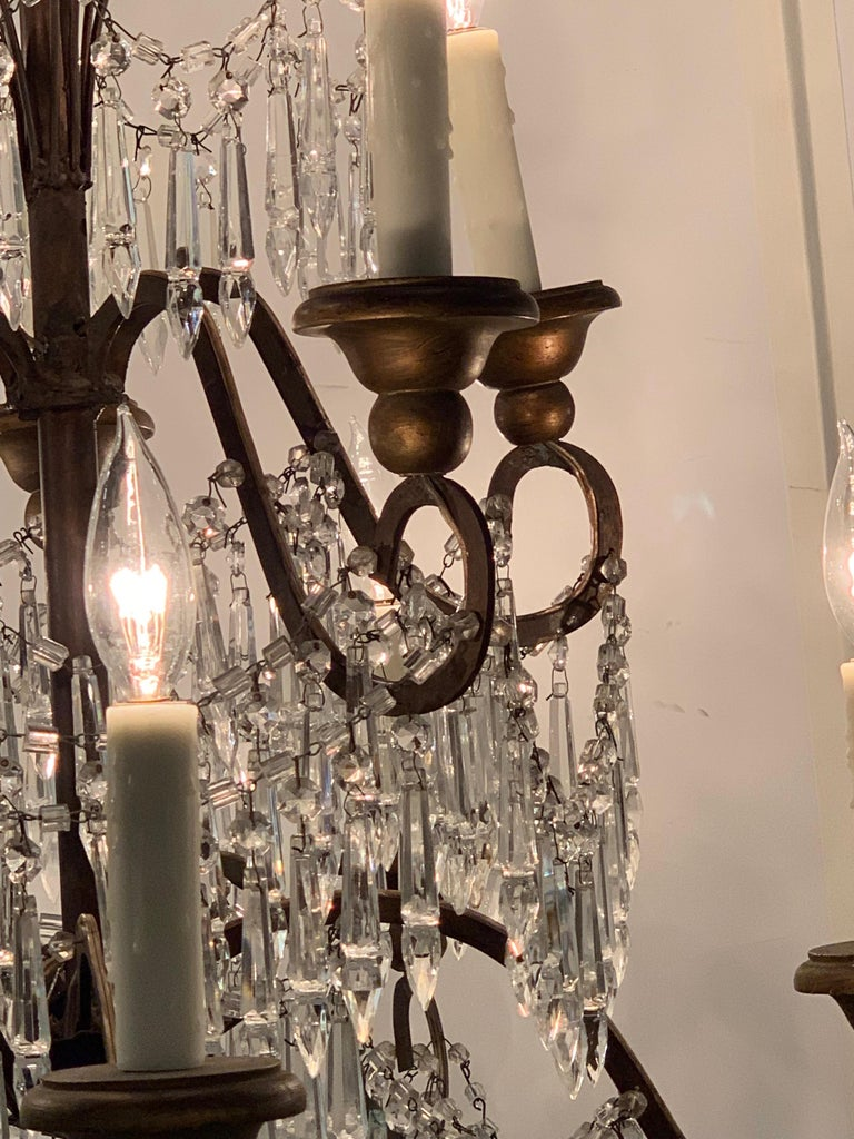 19th Century Italian 10 Light Crystal Chandelier For Sale 2