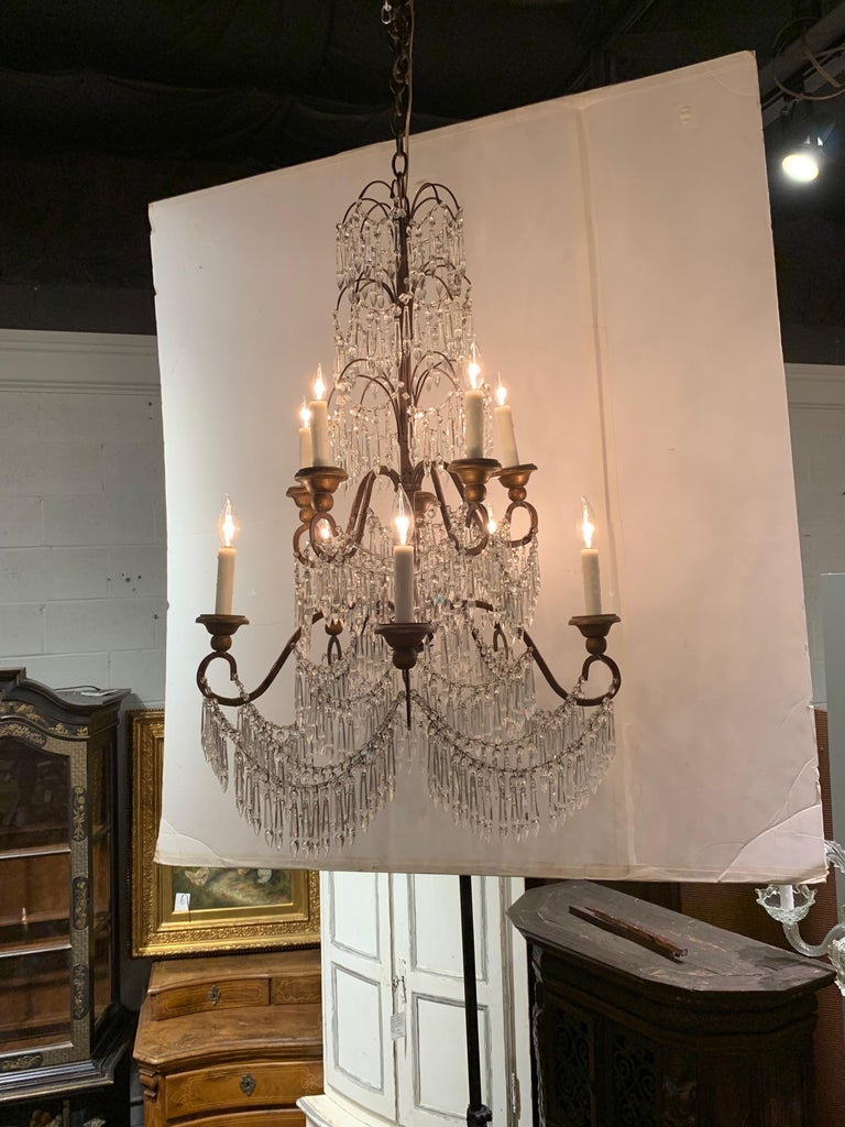 19th Century Italian 10 Light Crystal Chandelier For Sale 3