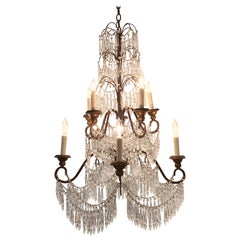19th Century Italian 10 Light Crystal Chandelier