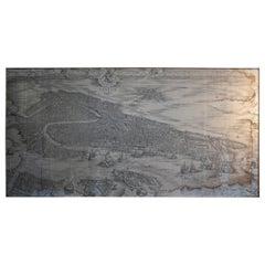 19th Century Italian 1500s Venice Map Framed