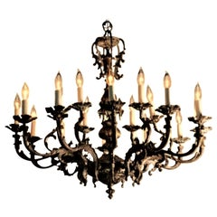 19th Century Italian 18-Light Solid Bronze Belle Epoque Chandelier
