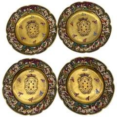 19th Century Italian 4 Pieces Capodimonte Porcelain Medici Armorial Plates