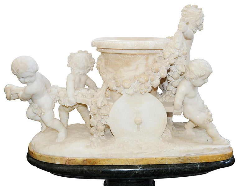 Classical Roman 19th Century Italian Alabaster Group of Children Pushing a Cart For Sale
