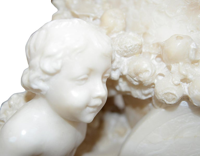 French 19th Century Italian Alabaster Group of Children Pushing a Cart For Sale