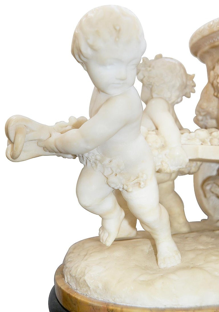 19th Century Italian Alabaster Group of Children Pushing a Cart For Sale 3