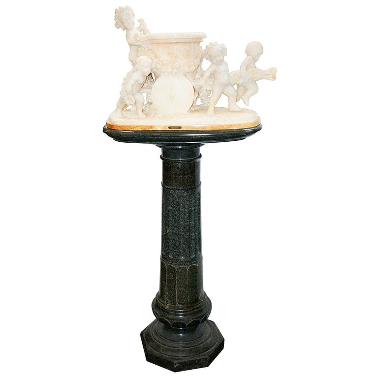 19th Century Italian Alabaster Group of Children Pushing a Cart For Sale