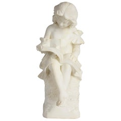 19th Century Italian Alabaster Statue of a Young Girl Reading