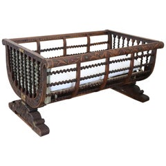19th Century Italian Antique Carved and Turned Walnut Crib or Baby Bed