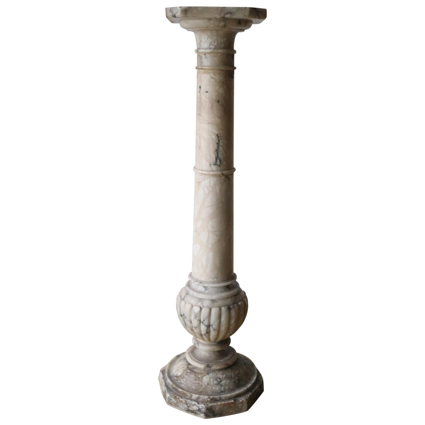 19th Century Italian Antique Column in Carrara Marble