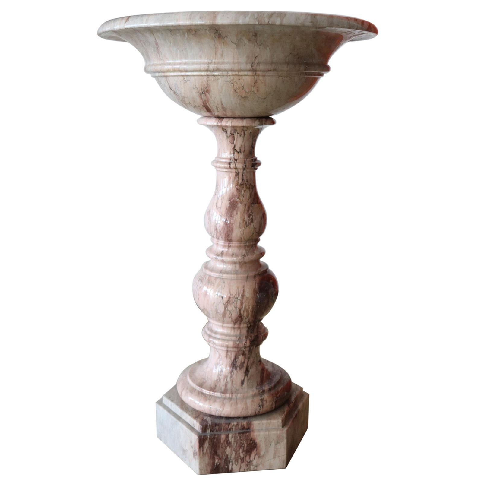 19th Century Italian Antique Hand Carved Marble Font