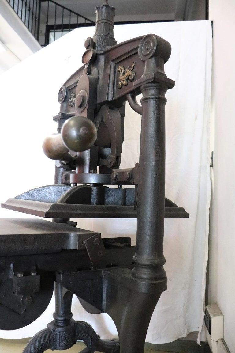 19th Century Italian Antique Large Museum Iron Book Press For Sale 6
