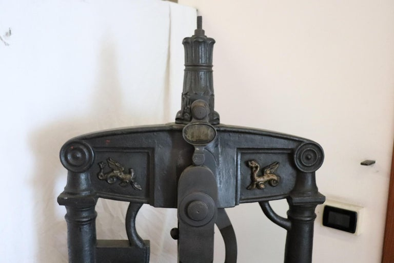 19th Century Italian Antique Large Museum Iron Book Press For Sale 1