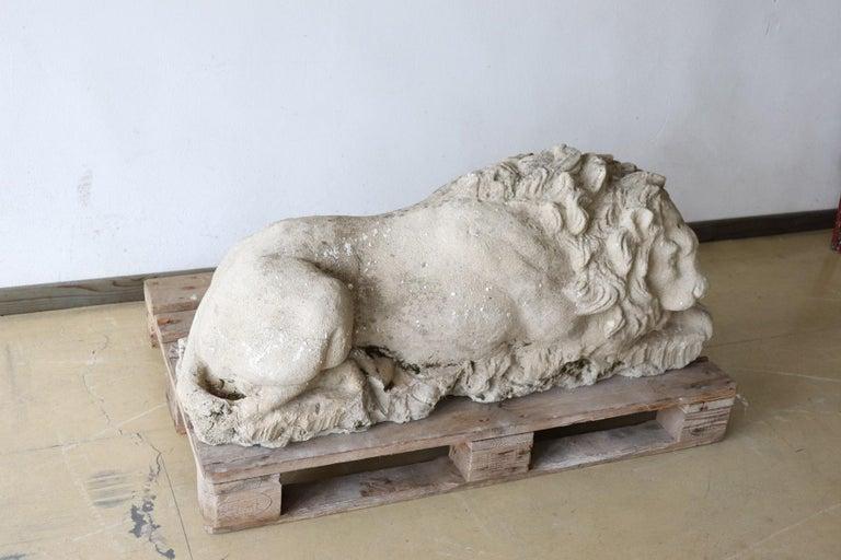 18th Century Italian Antique Lion Sculpture in Stone In Good Condition For Sale In Bosco Marengo, IT
