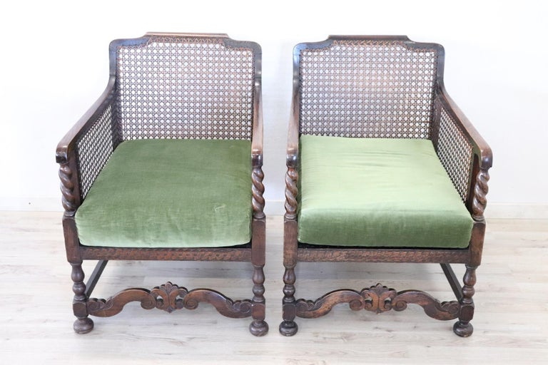19th Century Italian Antique Oak Living Room Set or Salon Suite with Wien Straw For Sale 7