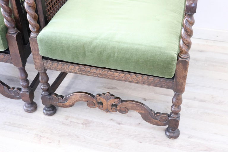 19th Century Italian Antique Oak Living Room Set or Salon Suite with Wien Straw For Sale 8