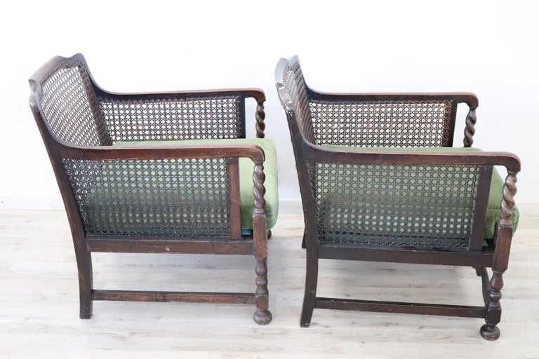 19th Century Italian Antique Oak Living Room Set or Salon Suite with Wien Straw For Sale 15