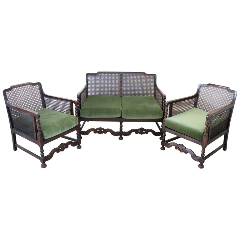 19th Century Italian Antique Oak Living Room Set or Salon Suite with Wien Straw For Sale